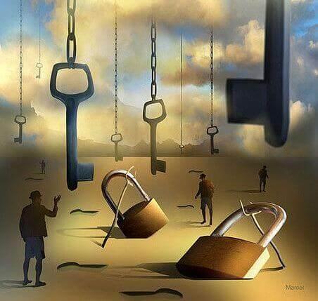 jättiläismäiset avaimet ja lukot