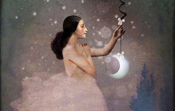 nainen ja ilmasta roikkuva kuu
