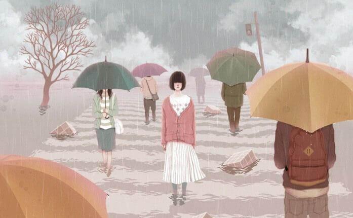 yhdeltä puuttuu sateenvarjo