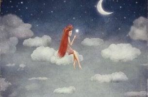 tyttö istuu pilven päällä