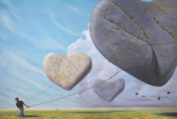 sydämenmuotoiset kivi-ilmapallot