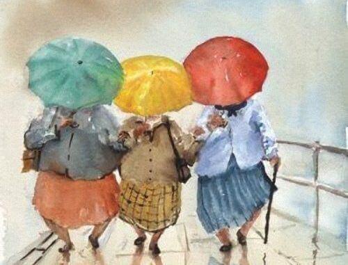 mummoilla on värikkäät sateenvarjot