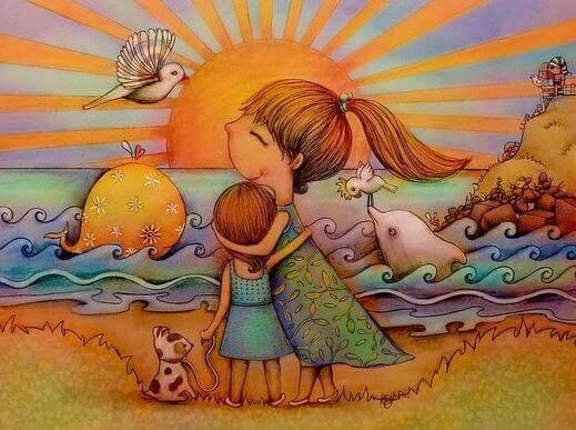 äiti ja tytär auringonlaskussa