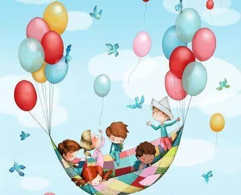 lapset lentävät maton päällä