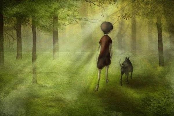 lapsi ja koira metsässä