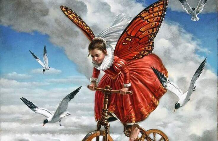 perhostyttö pyöräilee taivaalla