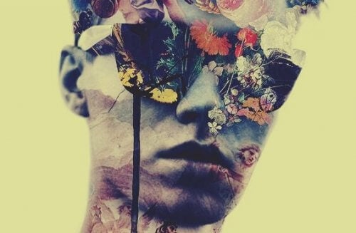 miehen kasvoilla on kukkia ja elämää