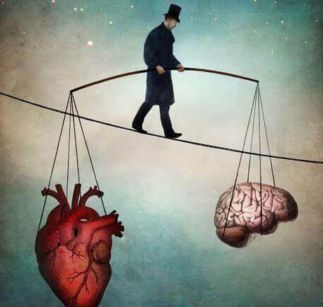 trapetsitaiteilija sydämen ja aivojen kanssa