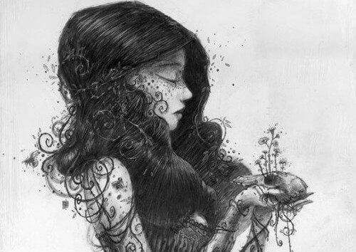 naisessa kasvaa kasveja