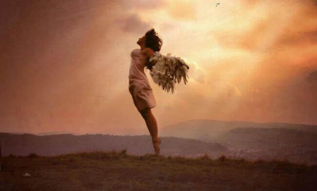 Nainen lähdössä lentoon