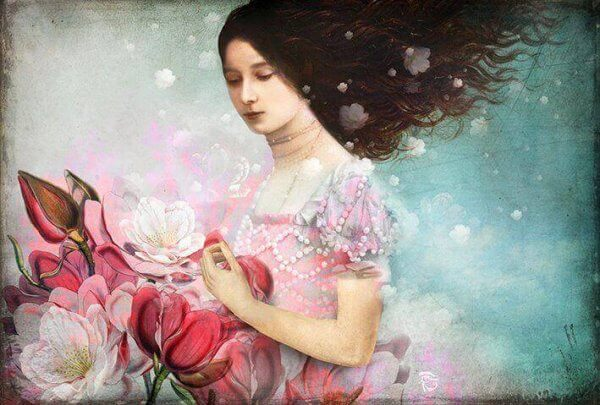 nainen kerää kukkia