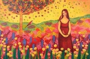 rauhaisa nainen kukkakedolla