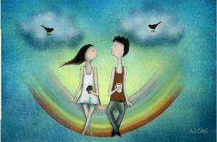 tyttö ja poika sateenkaaren päällä