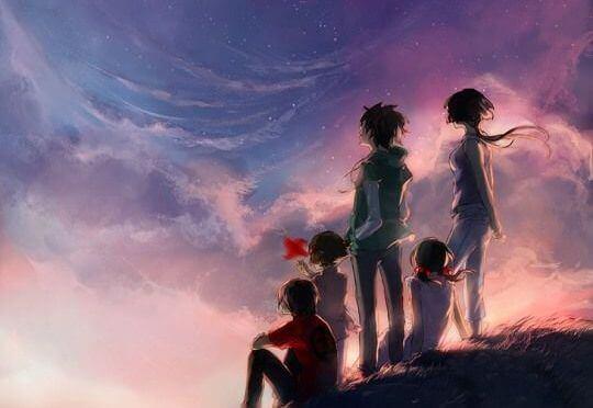 perhe on yhdessä taivasalla