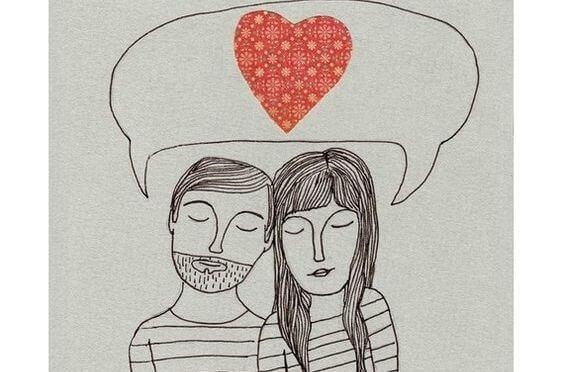 miehen ja naisen yhteisen puhekuplan sisällä on sydän
