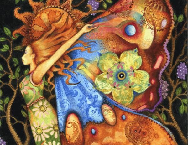 naisella värikkäät siivet