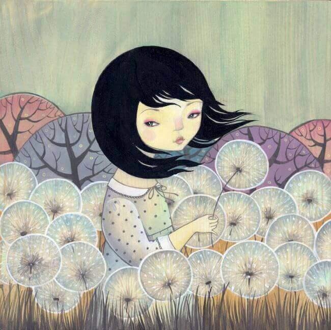 tyttö kukkakedolla