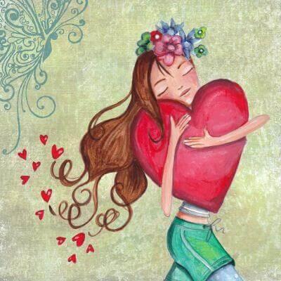 tyttö halaa suurta sydäntä