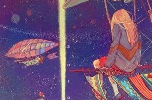 tyttö taivaalla