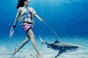 nainen kävelee vedessä taluttaen haita