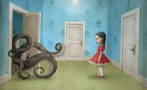 tyttö ja lonkerot
