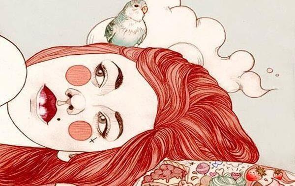 lintu makaavan naisen pään päällä