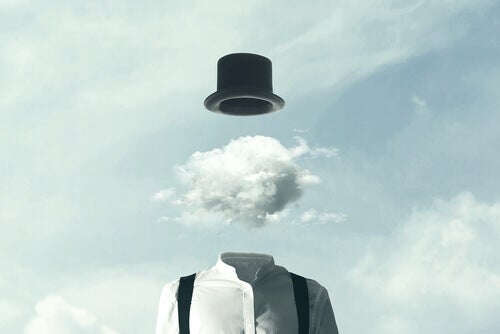 miehen pään tilalla on pilvi