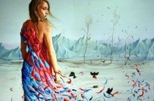 naisen mekko muuttuu perhosiksi