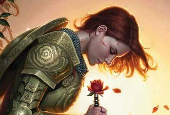 naisella haarniska ja kukka