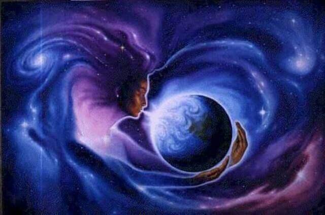 nainen hengittää maapalloon