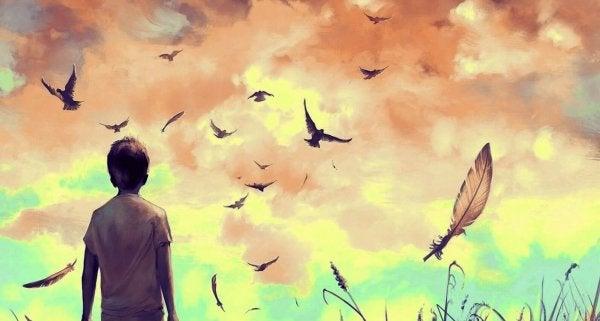 linnut ja sulka lentävät taivaalla