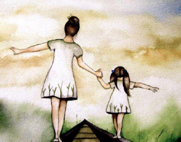 äiti ja tytär kävelevät junakiskoilla