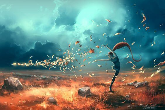 tanssiva tyttö ja syksyn lehdet
