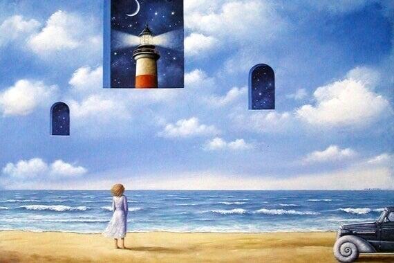 Nainen katsoo taivaalla oleviin ikkunoihin