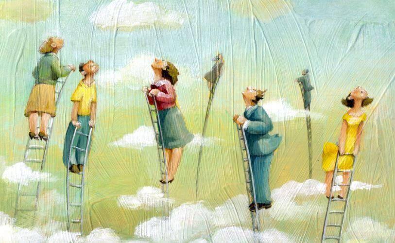 ihmiset kurottelevat taivaalle