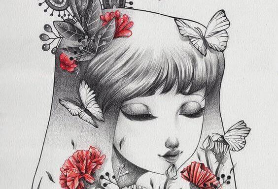 tytöllä marjoja kukkia perhosia