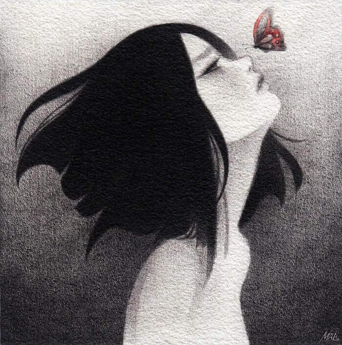 Tyttö surussa