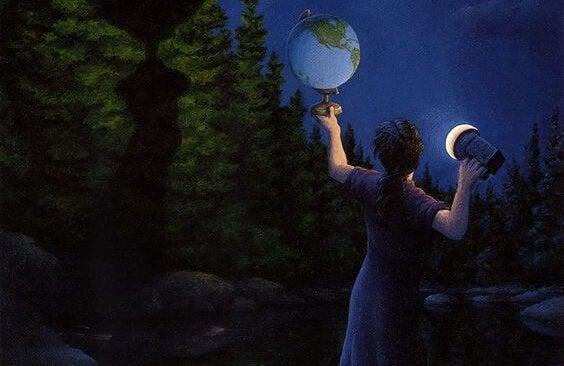 Tyttö ja karttapallo
