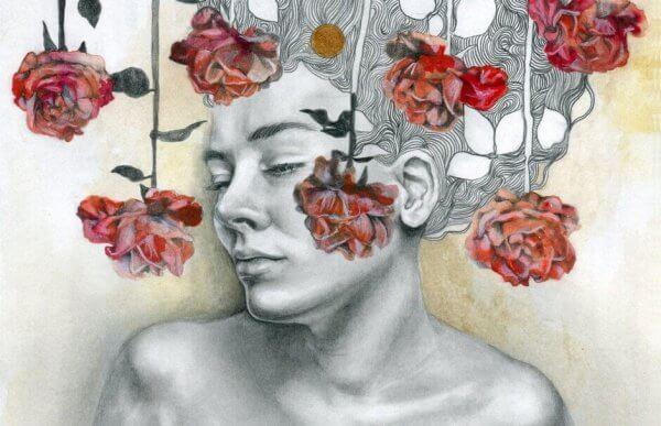 naisen ympärillä ruusuja