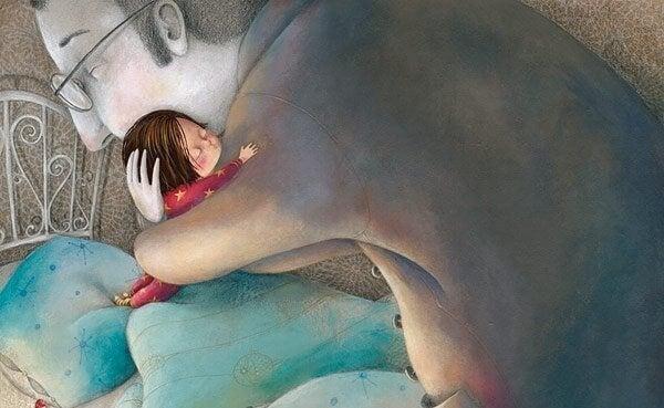 iso mies halaa pientä tyttöä