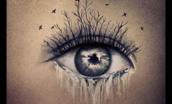 silmästä valuu vettä ja ripset ovat oksia