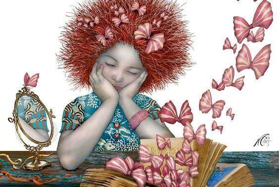 tyttö katsoo kun kirjasta lentää perhosia vai rusetteja