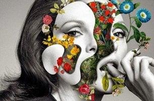 naisella kukkia kasvoissa