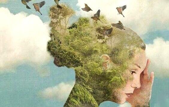 naisen pää on luonto