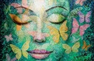 rauhallinen vihreä nainen