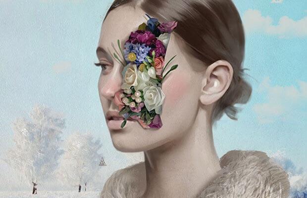naisen kasvoista tulee kukkia