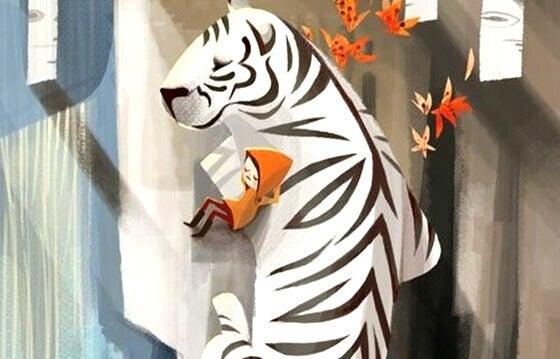 tyttö nukkuu tiikerin kanssa
