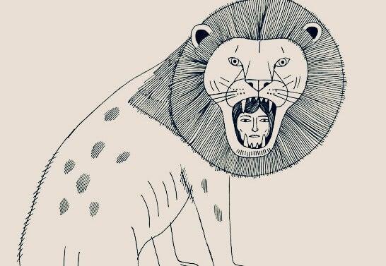 nainen leijonan suussa