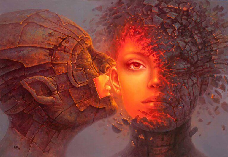 kivinen suudelma saa naisen syttymään