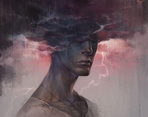 miehen pää mustassa pilvessä